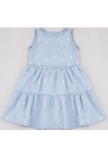 Vestido Jeans Infantil Estampado Floral Sem Manga Azul Claro