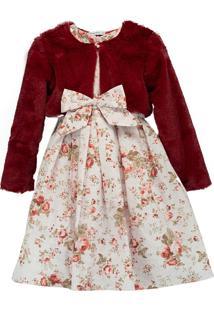 Vestido Pipoca Doce Floral Com Casaquinho De Pele
