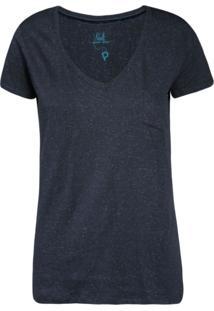 Camiseta Khelf Decote V Básica Azul Marinho
