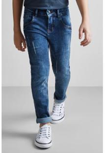 Calça Masculina Infantil Mini Sm Jeans Lavada Reserva Mini - Masculino-Azul Petróleo