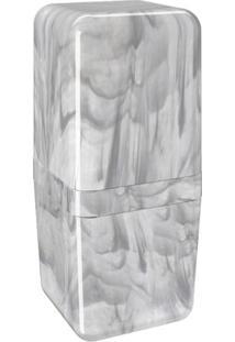 Porta Escova Cube Com Tampa 8,5X8,5X19,5Cm Mármore Branco - 20877/0480 - Coza - Coza