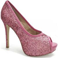 4c8bd9b9c3 Peep Toe Glitter Sapato Show - Feminino-Rosa