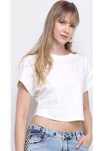 Camiseta Morena Rosa Cropped Básica Lisa Feminina - Feminino-Off White