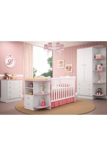 Jogo De Quarto Infantil Doce Sonho Com Berço Cômoda Branco Com Rosa - Qmovi