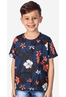 Camiseta Infantil Hermoso Compadre Tropical Masculina - Masculino-Azul Escuro