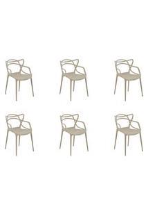 Kit 06 Cadeiras Allegra Nude Rivatti