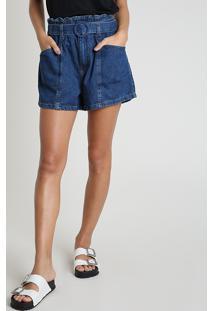 Short Jeans Feminino Clochard Cintura Alta Com Faixa Para Amarrar Azul Médio