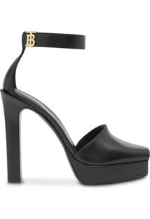 Burberry Monogram Motif Leather Peep-Toe Sandals - Preto