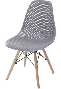Cadeira Eames Furadinha Cor Cinza Com Base Madeira - 55984 - Sun House
