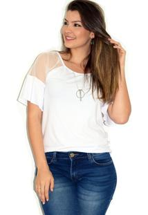 Blusa Up Side Wear Tule Transparente Branca