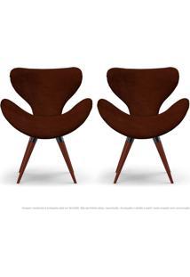 Kit De 02 Poltronas Decorativas Cadeiras Egg Marrom Com Base Fixa De Madeira