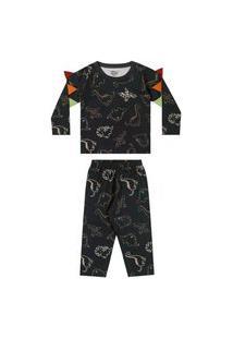 Pijama Infantil Divertido Dinossauros Brilha No Escuro Elian-4