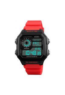 Relógio Skmei Digital -1373- Preto E Vermelho