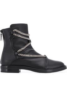Casadei Ankle Boot Com Aplicação De Corrente - Preto