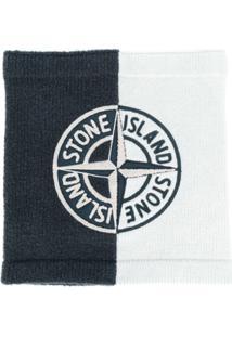 Stone Island Cachecol De Tricô Com Logo - Cinza