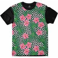 Camiseta Bsc Padrões E Listras Flores E Folhas Sublimada Masculina -  Masculino-Branco+Preto 561a82df1cc30