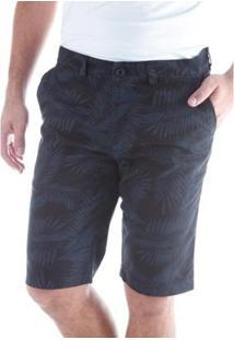 Bermuda Traymon Sarja Estampada Slim Amaciada Masculina - Masculino-Preto