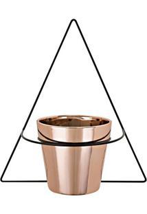 Vaso Com Suporte Para Parede- Preto & Rose Gold-32,5Mart