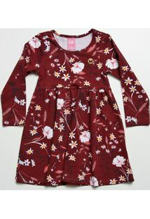Vestido Infantil Estampa Floral Manga Longa