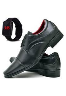 Sapato Social Fashion Com Relógio Led Dubuy 832El Preto