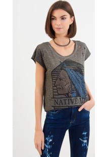 Camiseta John John Native Malha Cinza Feminina (Cinza Escuro, P)