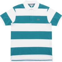 Camisa Polo Lacoste Kids Menino Listras Branca Verde 4bad1820ca