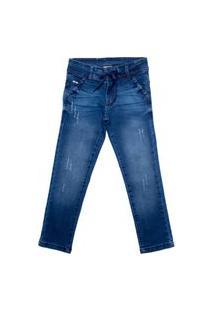 Calça Jeans Infantil Oznes Reta Menino Azul