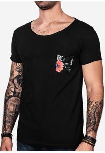 Camiseta Preta Bolso Floral 101207