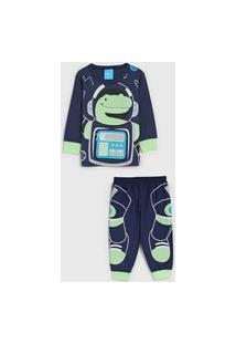 Pijama Kamylus Longo Infantil Dinossauro Azul-Marinho/Verde