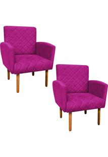 Kit 02 Poltronas Decorativa Veronês Para Sala E Recepção Suede Pink - D'Rossi