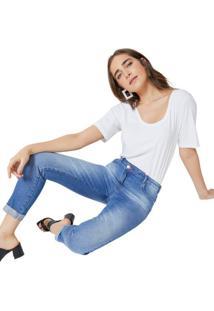 Calça Jeans Slim Cós Irregular