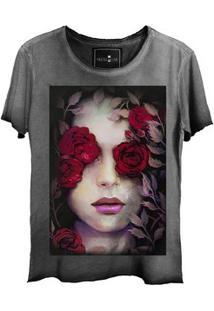 Camiseta Estonada Corte A Fio Girl Roses