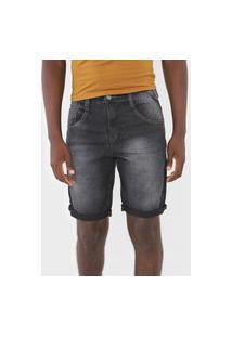 Bermuda Jeans Biotipo Reta Estonada Preta
