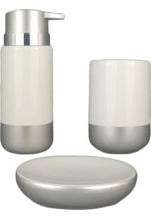 Kit Banheiro Saboneteira Lavabo Acessório Pia Branco E Prata Porcelana Porta Sabonete Líq Escova 3Pç