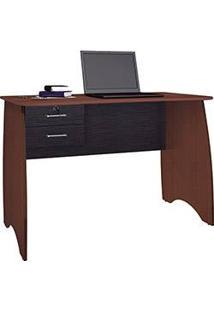Mesa Para Computador Secretária Alemanha 2 Gavetas Imbuia/Preto - Rv Móveis