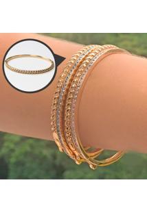 Bracelete Trançado Com Zircônias Brancas Folheado A Ouro