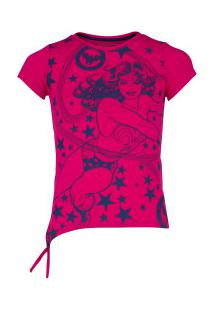 Camiseta Liga Da Justiça Laço Mulher-Maravilha Feminina - Infantil - Rosa/Azul Esc