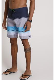 Bermuda Surf Masculina Listrada Com Bolso E Cordão Azul Marinho
