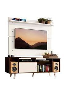 Rack Madesa Cancun Com Pés E Painel Para Tv Até 65 Polegadas Rustic/Branco 6E09 Cor:Rustic/Branco/Branco