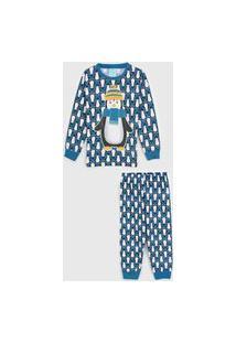 Pijama Kyly Longo Infantil Pinguim Azul