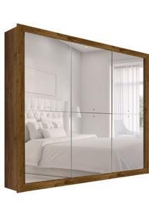 Guarda-Roupa Casal Com Espelho Mônaco 3 Pt Canela