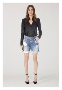 Bermuda Fem C/ Puidos E Barra Virada Jeans Medio