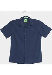 Camisa Infantil Colcci Fun Slim Manga Curta Masculina - Masculino-Azul