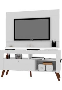 """Rack Com Painel Para Tv De Até 55"""" Polegadas Dinamarca – Art In Móveis - Branco"""