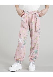 Calça Clochard Infantil Estampado Floral Rosê