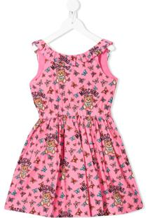 Moschino Kids Vestido Com Estampa De Borboletas - Rosa