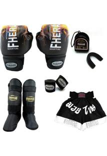 Kit Muay Thai Top Luva Bandagem Bucal Caneleira Bolsa Shorts 08 Oz Cobra 1 - Unissex