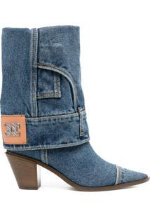 Casadei Bota Jeans Com Bico Fino - Azul