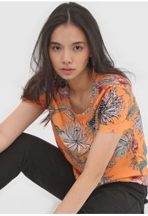 Camiseta Colcci Folhagem Laranja - Laranja - Feminino - Viscose - Dafiti
