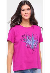 Camiseta Sommer Básica Fab Girls Feminina - Feminino-Rosa Escuro